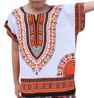 camiseta dos homens unisex venda por atacado-Menino Menina Crianças Bebê Unisex Cor Africano Brilhante Criança Dashiki Camiseta Tee Tops Afrika supro Pring V Pescoço T camisa