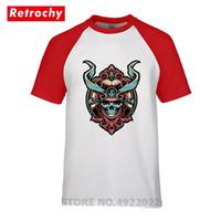 ingrosso top samurai-Cool Samurai Warrior Skull T-Shirt T-shirt da uomo Geek Divertente Felpa di alta qualità 100% cotone Maglietta traspirante Magliette casual di marca