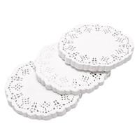 papier runde spitze großhandel-300pcs runde Fertigkeit-Tischsets-Papierkuchen-Spitze-Verzierung