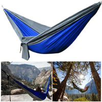 Wholesale single outdoor swing for sale - Group buy 270x140CM Double Hammock Sleeping bag Beds T Nylon Swing Bed Max Load kg Outdoor Hanging Sleeping Chair Bag Travel