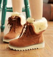 botas de nieve de chicas sexy al por mayor-lazo de invierno botas para la nieve clásico lindo caliente ligera a estrenar forme mate gamuza de cuero genuino Sexy Boots chica estudiante blandas más el tamaño