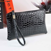 роскошные сумки оптовых-Splendid Women Crocodile Leather Clutch Handbag Bag Coin Purse