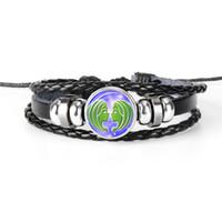 bracelets enveloppants en cuir perlé multicouche achat en gros de-2019 New Leather Rope Beaded Bracelets Wrap multicouche 12 Constellations Zodiac Gemini Temps Gem Glass Cabochon Bracelets pour Femmes Hommes Bijoux