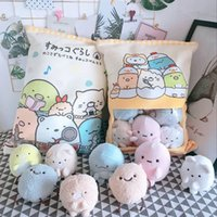 gatos dos desenhos animados venda por atacado-8 pcs Sumikko Gurashi Pudding plush toy Bear Cat Monster Plush Pillow Creative anime Throw Pillow Cartoon Doll toys for Kids