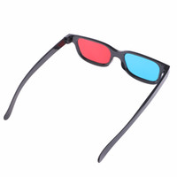 Wholesale new Black Frame Universal D Plastic glasses Red Blue Cyan D glass Anaglyph D Movie Game DVD vision cinema