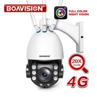 câmera de segurança de cores sem fio venda por atacado-HD 1080 P Cartão SIM 4G PTZ IP Câmera Sem Fio 20X Zoom Óptico Ao Ar Livre Câmera de Segurança CCTV Áudio Bidirecional de Cor Cheia de Visão Noturna