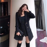 chaqueta de lana negra al por mayor-CWBshowGG chaqueta negra de invierno Versión coreana del abrigo de lana de moda cruzado de diosa de la diosa tweed vintage