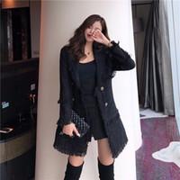 jaqueta de lã preta venda por atacado-CWBshowGG inverno jaqueta preta versão Coreana do vintage tweed deusa borla patchwork double-breasted casaco de lã de moda