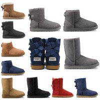 Wholesale womens winter boots knee for sale - Group buy New WGG fashion designer women ankle winter Australia boots chestnut black coffee tall Bailey Bowknot womens work snow knee high fur boots
