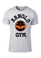logotipo de academia unisex venda por atacado-Muscle Arnold academia de musculação Trabalho Treinamento Legenda Ícone logotipo cinzento T camisa legal orgulho Casual camisa t homens Unisex New Moda