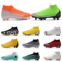 botas de fútbol para hombre talla 12 al por mayor-2020 Mercurial Superfly VI 360 Elite FG KJ 6 XII 12 CR7 Ronaldo Neymar Hombres Niños Zapatos de fútbol Botas de fútbol Tacos tamaño 39-45