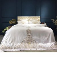 Wholesale oriental bedding sets queen resale online - Gold silver white luxury silk Bedding Set queen king size bed set oriental embroidery duvet cover sets bedsheets linens