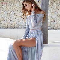 uzun iki yan yarık elbise toptan satış-Kadınlar Yaz Sonbahar Parti Boyun Dantel Uzun Kollu Setleri Moda Yüzler İki Yarık İki Adet Elbise Bayanlar Takımları Slash