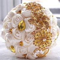 Wholesale ivory artificial silk for sale - Group buy 2019 Gorgeous wedding bridal bouquets ivory gold shiny flowers Artificial Wedding Bouquet new crystal sparkle bouquet of bride
