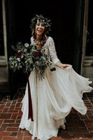 Wholesale vintage lace long sleeve bride dress for sale - Group buy Hot Sale Beach Boho Wedding Dresses Long Sleeves A Line Lace Chiffon Bride Plus Size Two Pieces Wedding Gowns Vestidod de novia