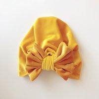 ingrosso cappelli a farfalla-Cappello per bambini Cappello con cappuccio in velluto dorato Cappello con cappuccio annodato a farfalla Cappello con cappuccio neutro Materiale in cotone Cupola 58
