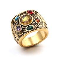 cristais espaciais venda por atacado-Infinito Gauntlet anel de poder filme Vingadores 3 Gold Thanos Power Gauntlet Anel De Cristal O Anel De Pedra De Cristais Do Espaço para Os Homens