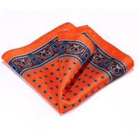 ingrosso fazzoletto quadrato tasca mens-Fazzoletto da taschino Hisdern Dot arancione blu 100% raso di seta naturale Mens Hanky Fashion Classic Wedding Square Pocket Square