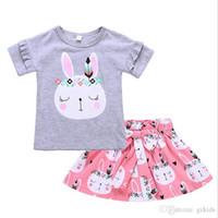 bebek kızları pembe tee toptan satış-Paskalya günü bebek tasarımcı gri fırfır kollu kızlar bunny baskı tops tees tshirt pembe kızlar tavşan tüm baskı etek tutu etek 2 adet set