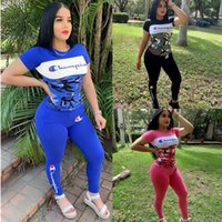 Wholesale women camouflage tights resale online - Champion Brand Camouflage Patchwork Women Designer Tracksuits Set Sport T shirts Tights Pants Bodycon Sportswear Color Block Outfit C71501