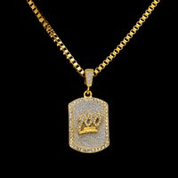 Wholesale mens chain necklace link design for sale - Group buy Male Jesus Tag Necklaces Men Jewelry Full Rhinestone Design Filling Pieces Mens Hip Hop Gold Fashion Chain Necklaces For Gifts