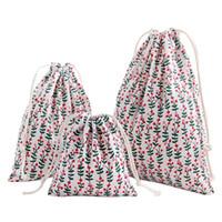 Wholesale drawstring brown handbags resale online - Portable Printing Drawstring Bag Beam Port Storage Shopping Travel Handbag Xmas Gift Bags DXAE