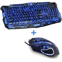 nuevas computadoras portátiles de color púrpura al por mayor-Nueva Red Purple Blue Led Backlight USB con conexión de cable Ordenador portátil PC Pro Gaming Keyboard Mouse Combo para LOL Dota 2 Gamer Keyboard Mouse Combo