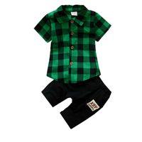 ingrosso vestito da bambino-Estate Bambini Ragazzi Ragazze Moda Abbigliamento Abiti Bebé T-shirt Corto Pantaloni 2 pezzi / set 2019 Abbigliamento per bambini Sets Tute