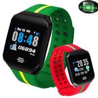 akıllı dokunmatik ledli saat toptan satış-Kalp Hızı Monitörü Spor Akıllı İzle Erkekler Kadınlar Kare Arama LED Dokunmatik Büyük Ekran Smartwatch Çalışan Spor Inteligent Saatler