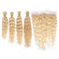 rus yığını insan saçı toptan satış-Islak ve Dalgalı Rus Sarışın Bakire İnsan Saç Frontal 4 Bundle Saf 613 Sarışın Su Dalga Örgüleri ile 13x4 Tam Dantel Frontal