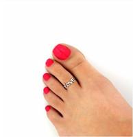 ingrosso orecchini gioielli anelli oro-2019 Fashion Europe Style Punk Celebrity Fashion Semplice oro argento Retro Love Toe Anello Beach Foot Jewelry