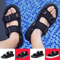 Wholesale slippers for mens resale online - 2020 New Sandals For Mens Shoes Male Black White Beach Outdoor Slippers Fashion Casual Sports Walking Black White Summer Comfort