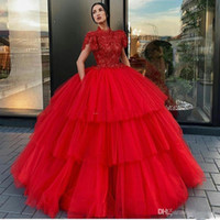 Wholesale apple cakes resale online - Red Tiered Skirt Prom Dresses High Neck Short Sleeve Ball Gown Celebrity Evening Gowns Tulle Cake Skirt Formal Party Wear robes de soiree