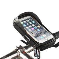 phone holder bicycle toptan satış-Bisiklet Gidon Çantaları Bisiklet Bisiklet Telefonu Çanta Yağmur Geçirmez TPU Dokunmatik Ekran 360 Rotasyon Cep Telefonu Tutucu MTB Çerçeve Kılıfı Çanta