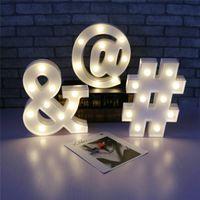 Led Marquee Night Light Indoor Wall Decoration Light Up Kid Gift White Plastic Letter Sign Alphabet Lamp Symbol Night Light