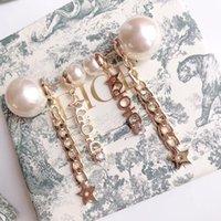 Wholesale nets china resale online - Pearl rhinestone pentagonal ear ring personality net red female retro Korean alphabet earrings