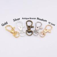 Wholesale lobster clasp silver swivel resale online - Gold Silver Key Chain Split Key Ring Swivel Lobster Lobster Clasp Clip Buckle Key Hook Keychain For DIY Jewelry Making