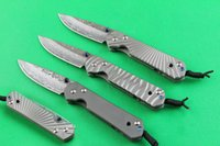 Wholesale chris reeves damascus knives for sale - Group buy 3 Styles Chris Reeve Knives Small Sebenza Damascus Folding Pocket Knife Titanium Handle Tactical Hunting knives Xmas Gift For Men P255Q R