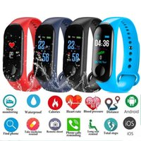 Wholesale real kids phones for sale - Group buy Fitness Smart Bracelet for Xiaomi Fitness Tracker M3 Smart Watch with Real Heart Rate for Apple Fitbit Android Cellphones with Retail Box