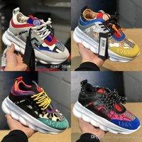 kadınlar için beyaz kauçuk ayakkabılar toptan satış-2018 Zincir Reaksiyon Lüks Tasarımcı Ayakkabı Erkek Kadın Sneakers Kar Leopar Siyah Beyaz Örgü Kauçuk Deri moda kadın Rahat ayakkabılar