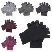 Wholesale knit mittens women resale online - Men Women Winter Knitted Gloves Full Finger Warm Thicken Plush Lining Mittens Gloves Outdoor Sports