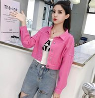 bayan beyzbol hırkası toptan satış-Harajuku Kadın fermuar hırka ceket klasik tasarım Beyzbol'un ceketler Kadın kot Kadın Casual