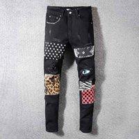 ingrosso ciclismo 5xl-Di lusso degli uomini del progettista jeans Amiri Mens Jeans Moda Slim Ciclismo Moto Pantaloni Distressed Brand Jeans Hip Hop Via Denim pantaloni di vendita