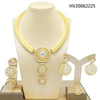 Wholesale jewelry two tones gold set for sale - Group buy Yulaili Latest Dubai Gold Jewelry Sets Charm Two Tones Round Shape Necklace Earrings Bracelet Ring for Women Party Jewellery