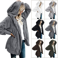 plus größe frauen oberbekleidung großhandel-Frauen-Plüsch-Sherpa-mit Kapuze Oberbekleidung-Taschen-Hoodie Mantel-warme Strickjacke im Freien beiläufige Outwear warm plus Größe Jackenmantel LJJA2844