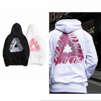 erkekler için beyaz hoodie toptan satış-Siyah ve beyaz TRI PALACES artı kadife tişörtü sonbahar kış polar erkekler hoodies gelgit kaykay kazak rahat streetwear boyutu S-XXL