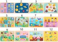 çocuk oyuncakları için çiftlik hayvanları toptan satış-24 Stil Ahşap Çiftlik Tıknaz Bulmaca Oyuncaklar Öğrenme Kavramak için Çocuklar Karikatür Hayvan Ahşap Bulmacalar Eğitici Oyuncaklar Çocuklar için 0-6 Yıl L