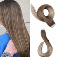 Wholesale double tape hair extensions pieces online - 100g Balayage Silk Straight PU Hair Tape In Hair Extension Inch To Inch