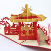 tarjetas de felicitación hechas a mano 3d al por mayor-Tarjetas de felicitación hechas a mano del Pabellón Chino 3D POP Up Tarjetas de felicitación de la venta caliente Fuentes del partido Envío libre