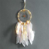 Wholesale LED Light Dream Catcher Feathers Lace Wall Hanging Pendant Dreamcatcher For Home Wall Art Car Hangings Decoration Gift